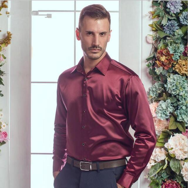 Mens camisas de los hombres grandes del tamaño de Muy buena calidad de manga larga camisa de seda de terciopelo otoño invierno hombre caliente cultiva su moralidad camisa