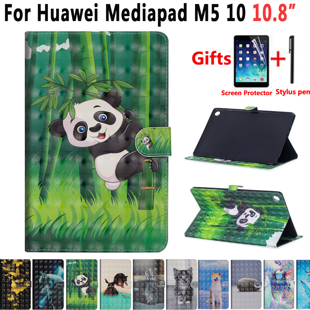Animal Dog Cat Case For Huawei Mediapad M5 10 Pro 10.8 CMR-W09 CMR-AL09 Cover Shockproof Stand Case For Huawei Mediapad M5 10.8