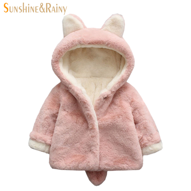 e0a53ae05e6e Little Bunny Design Baby Girl Jackets Winter Girls Faux Fur Coat ...