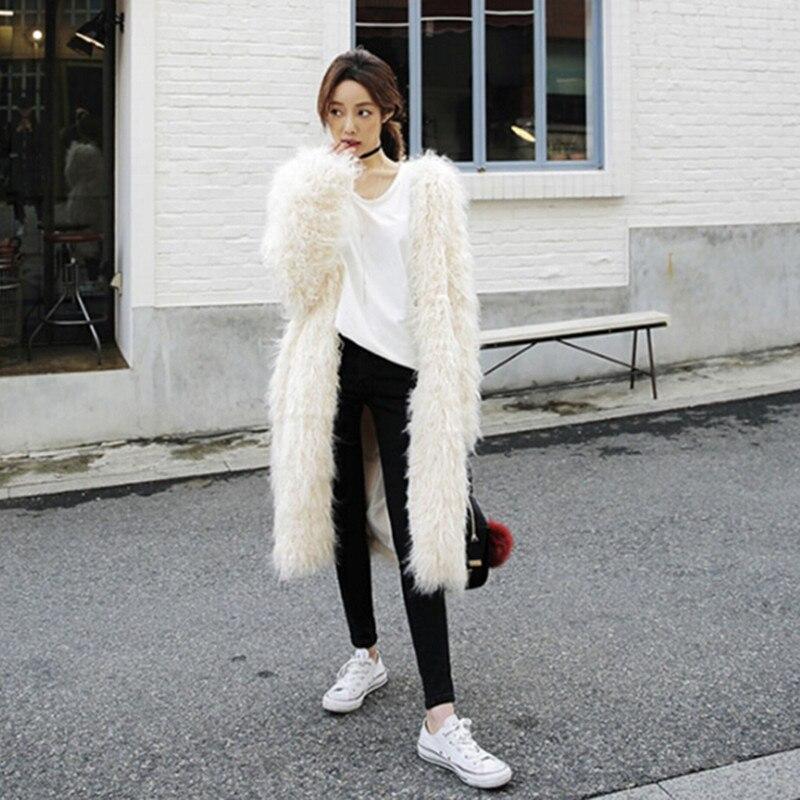Outwear Élégant Shaggy Pouces Ricewhite Mi Garder De Femme Faux Longues Fourrure Long 4 Manteau Au Chaud D'hiver Manches Longue Poilu Moutons À gSrngFxqw