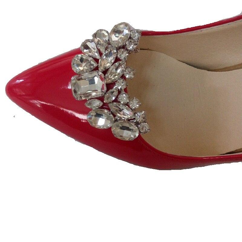 2 pcs (une paire) chaussures fleur charmes quotidienne chaussures haute-talon pompes de mode sac cristal de chaussures de diamant clips de mariage décoration boucle