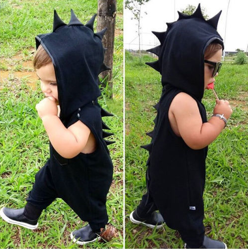 Adorable Kid Baby Boys Dinosaur Hooded Romper Jumpsuit Hat Clothes Outfits