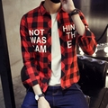 TG6109 Cheap wholesale 2016 new  Han edition men long sleeve shirt printed grid plus-size shirt