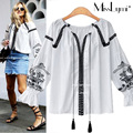 XXXL 4XL 5XL Plus Size Women Shirts 2017 Spring Summer Fashion Ethnic Style Embroidery Flare Sleeve Loose Casual Ladies Tops