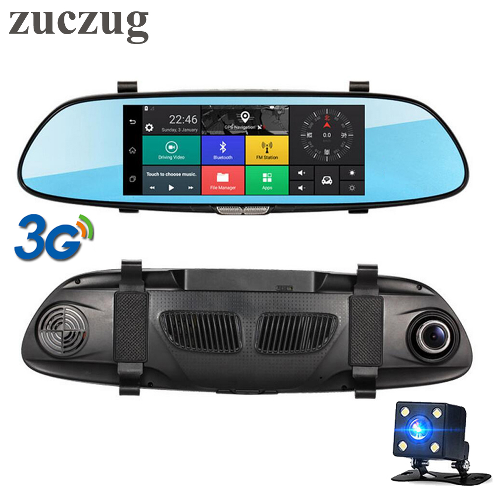 ZUCZUG 7 3G Touch IPS Car DVR Rearview mirror DVR GPS Bluetooth WIFI Android 5.0 Dual Lens FHD 1080p Video Recorder Dash Cam