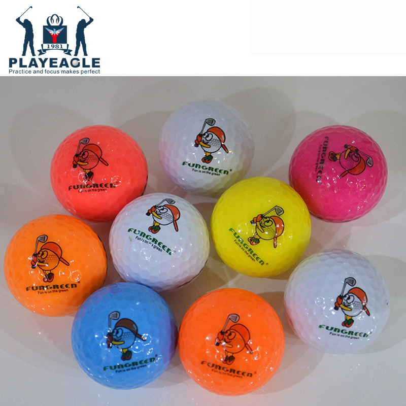 FUNGREEN 2 Layers Multi-Colored Golf Balls 10 Pcs/lot Practice Golf Balls Funny Training Sports Ball For Kids Playing Golf