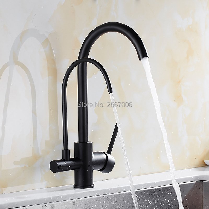 все цены на GIZERO Chrome/Black/Oat Color 360 Degree Rotatable Filter Healthy Kitchen Faucet Dual Handle Two Spout Drinking Water Tap GI2103