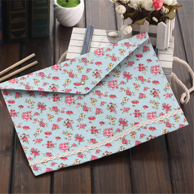 4pcs/lot Elegant Cloth A4 file Document Folders Bag Garden Guttons Envelope Files Bags Stationery Office School Supplies