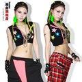 Новая Мода танец хип-хоп короткий топ женский Джаз костюм неон износ производительность жилет