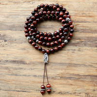 Inelastic 8mm 99pcs Tiger Eye Stone Beads Buddhist Prayer Jasper Rosary Mala Necklace For Woemn Men