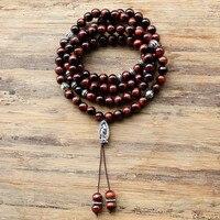 Inelastic 8mm 99pcs Tiger Eye Stone Beads Buddhist Prayer Jasper Rosary Mala Necklace For Woemn Men