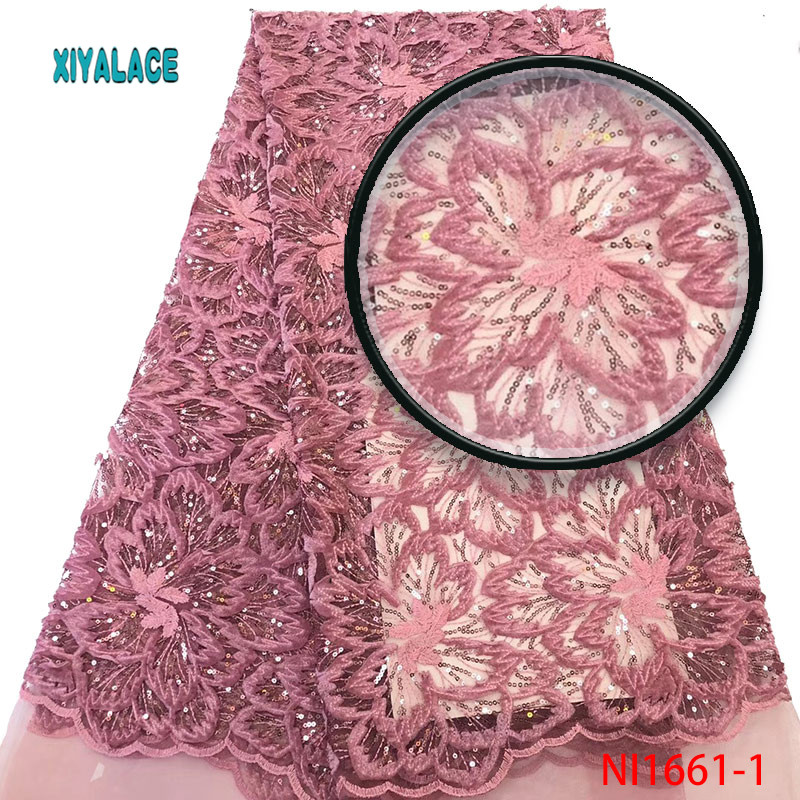 African Lace Fabric Sequins Lace Fabric 2019 Embroidered Nigerian Net Laces Fabric Bridal High Quality French Tulle YANI1661-1