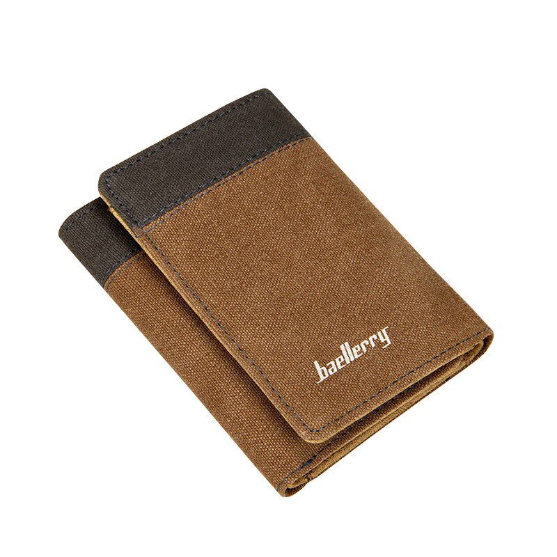 где купить baellerry brand canvas Men wallet three fold student purse card holder for man billetera hombre по лучшей цене