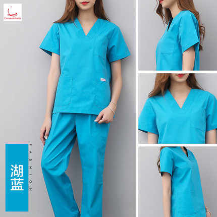 d9aec1902dc5a Korean version of hand washing clothes short sleeve split body suit  operating room pure cotton brush