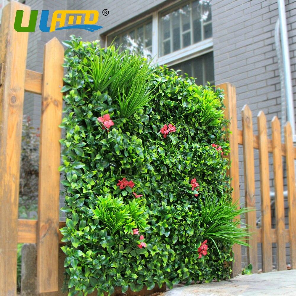 1qm Künstliche Buchsbaum Pflanzen Zaun Kunststoff Laub blume Hedge