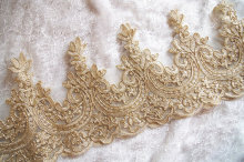 Gold lace trim, gold alencon lace, cord champagne 1 yard