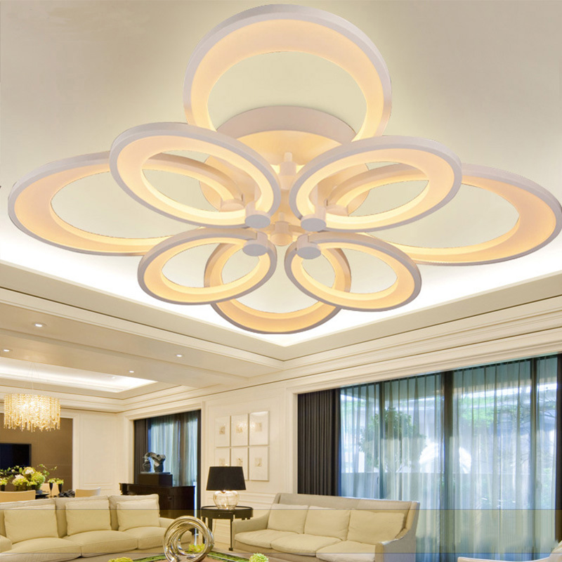 ANXIONG 8 Ring 95*95*30 CM 105W LED Ring Lustre Acryl Modern LED Ceiling Light Fixture Flush Mounted LED Circles Lamp lamparas 95