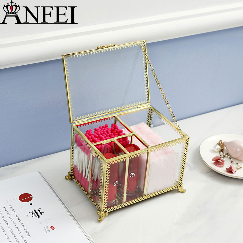 ANFEI New Arrival Gold Glass Clear Makeup paper Lipstick Cosmetic Storage Display Box Cotton swab Case Stand Rack Holder B2244