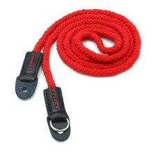 Новые приходят красный Длинную веревку тканые плечевой ремень из натуральной кожи Хлопок для всех камеры бесплатная доставка