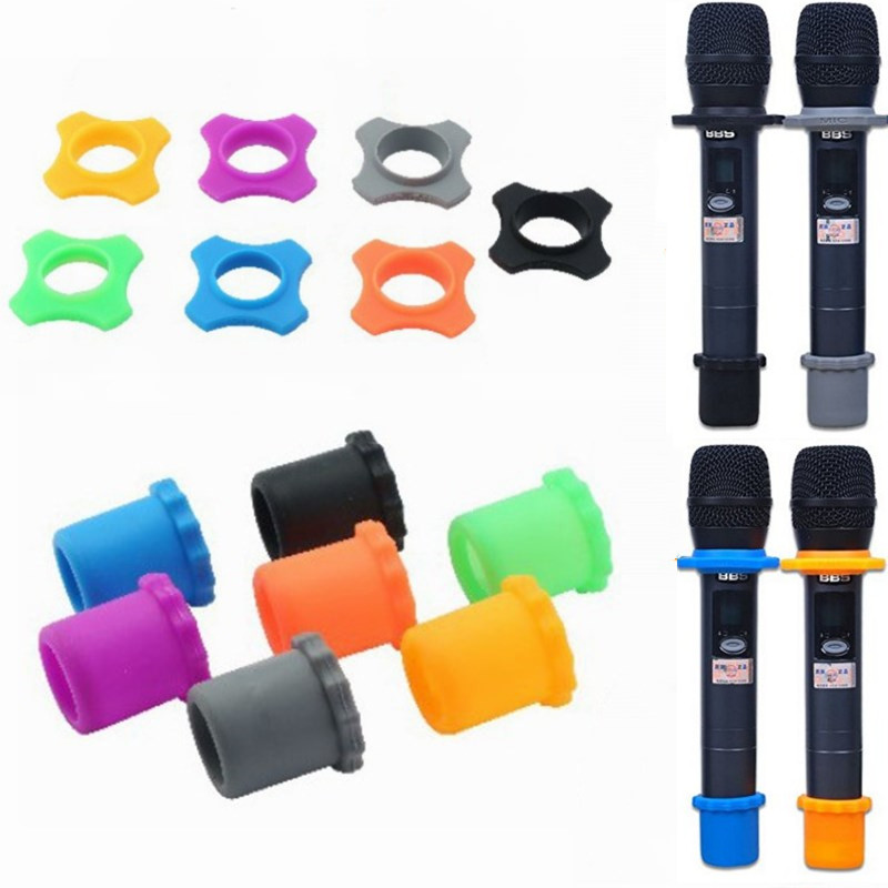 1 Set Shakeproof  Microphone Anti-Rolling Mic Protection Silicone Ring Bottom Rod Sleeve Holder For BBs Mic KTV Device