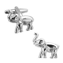 A pair of high quality Silver Elephant Cufflinks fashion brand men's shirts Cufflinks animal design