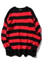 Icagns Oversized mężczyźni kobiety wszystkie mecze odzież czarne czerwone paski dziura swetry z dzianiny jesień zima sweter luźny długi akapit tanie tanio ICPANS 6003 W paski HIP HOP COTTON Ręczne dzianiny Z okrągłym kołnierzykiem Pełne HOLE REGULAR STANDARD Brak Barwiona wełna