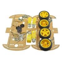 1 Set 56pcs DIY 4WD Robot Smart Car Chassis Kits Mayitr With Deceleration DC Motor Wheel