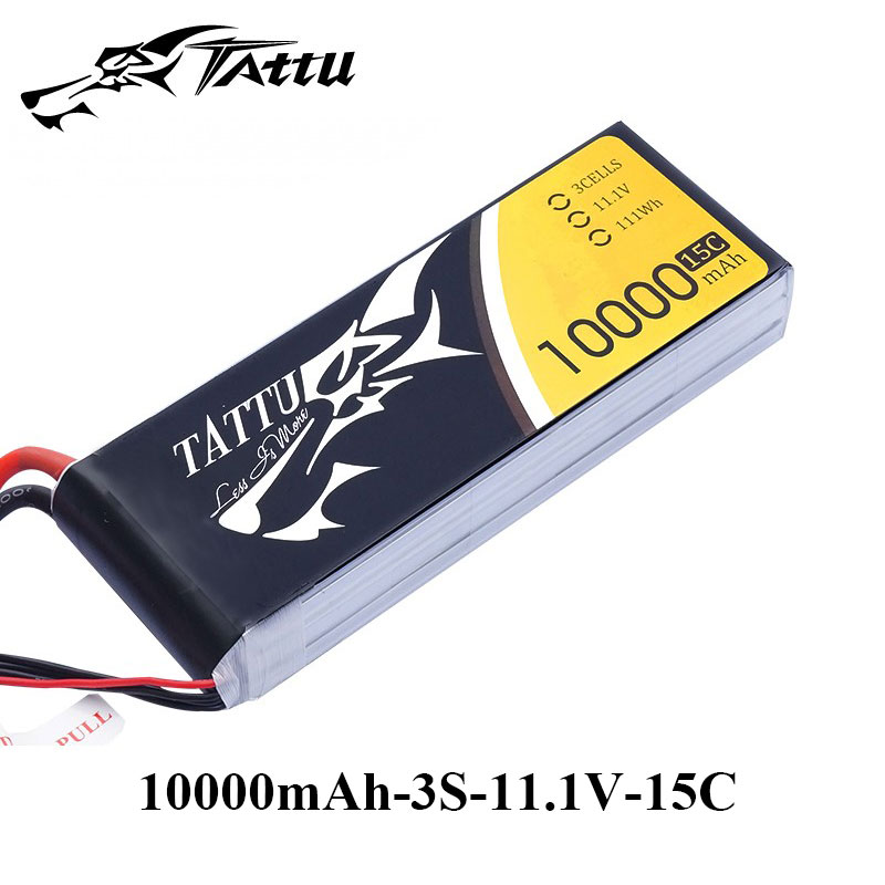 Tattu Lipo Battery 11.1V 10000mAh Battery Lipo 3S 15C EC5 Plug Battery for Quadcopter Helicopter UAV Drone New Arrival аккумулятор dji battery lipo 15 2v 4480 mah 4s for phantom 3