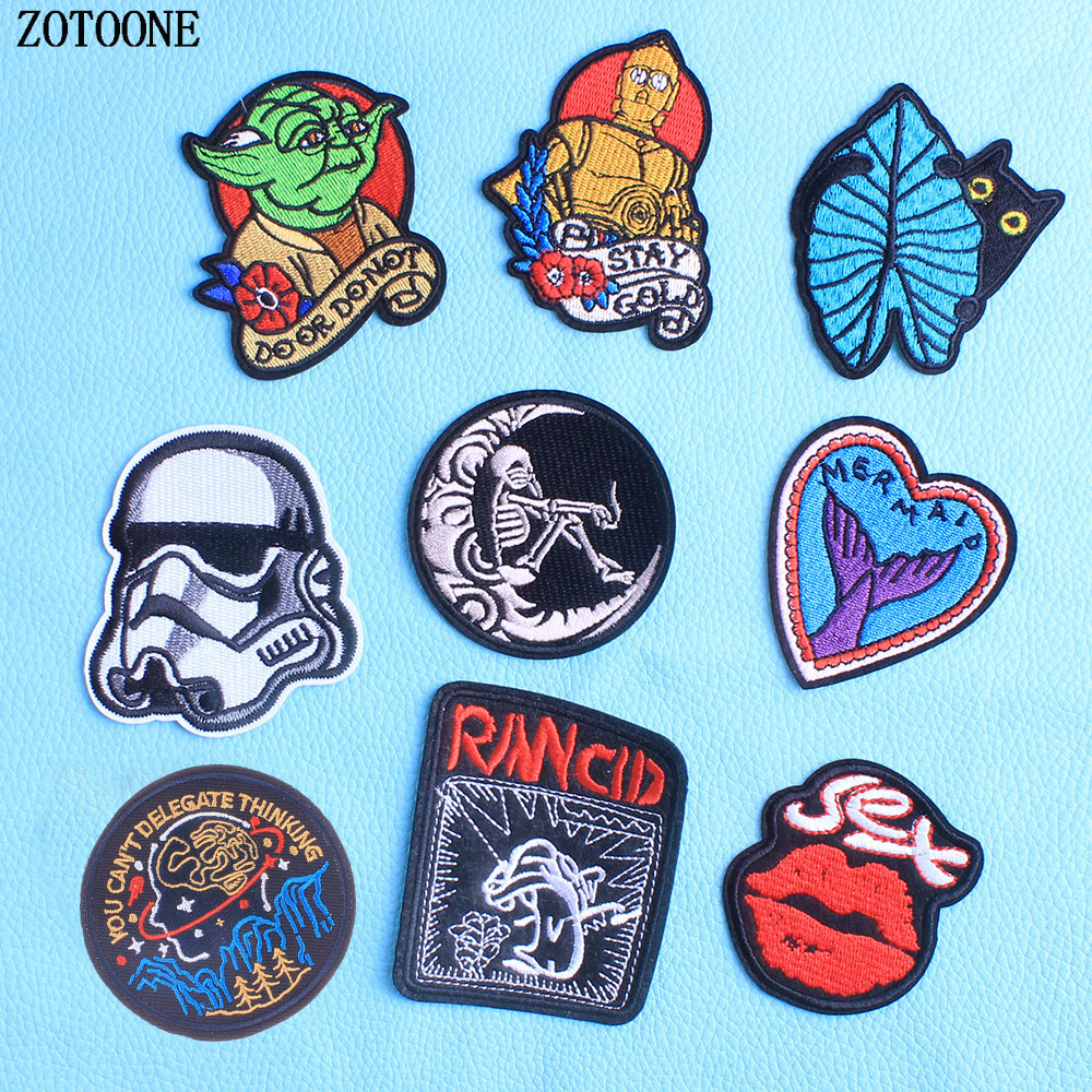 ZOTOONE Cartoon Star Wars Yoda Storm Trooper BB8 Robot Iron on Embroidered Clothes Heart Punk <font><b>Sex</b></font> <font><b>Patch</b></font> for Clothing Girls Boys image