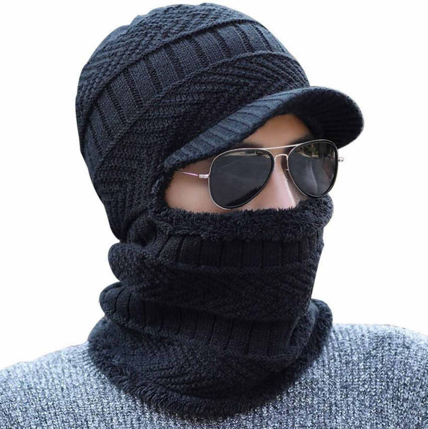 97aacbf34db Detail Feedback Questions about Winter Hat And Scarf Set For Women Men Ring Scarves  Cap With Brim Knitted Visor Beanies Balaclava Adult Bonnet Mask Neck ...