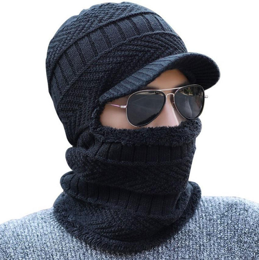 Winter Hat And Scarf Set For Women Men Ring Scarves Cap With Brim Knitted Visor Beanies Balaclava Adult Bonnet Mask Neck Warmer