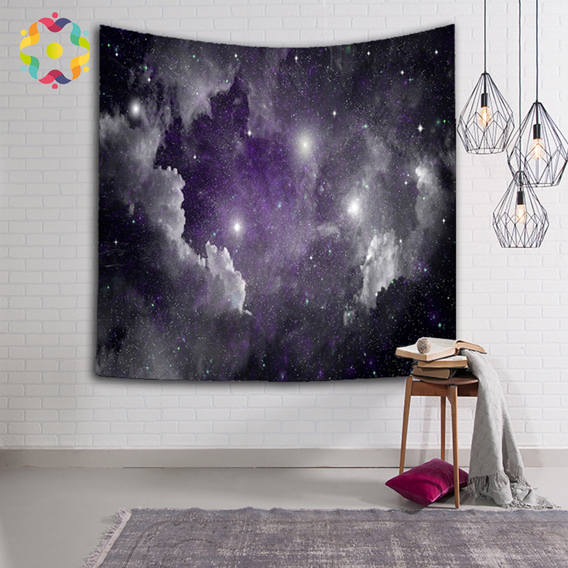 ZJFC Tapestry Galaxy Plant Printed Wall Hanging Decoration Polyester Tapestries Beach Mat For Living Room Good Quality