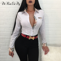 DeRuiLaDy Fashion 2018 Spring Autumn Women Striped Blouse Shirt Sexy Long Sleeve Black White Blouses Casual