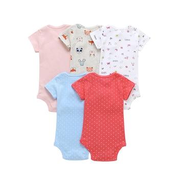 short sleeve bodysuit for baby girl clothes 2019 summer newborn boy set new born costume print body suit clothing 5pcs/lot 1