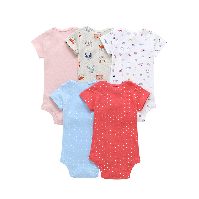 short sleeve bodysuit for baby girl clothes 2019 summer newborn boy set new born costume print body suit clothing 5pcs/lot 1