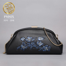 Pmsix 2017 fashion casual pig leather shoulder header layer buns embossed Shaddle leather handbags retro P520014