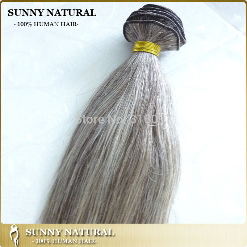 Brazilian Virgin Hair Mixed Grey Human Hair Extension Gray Hair