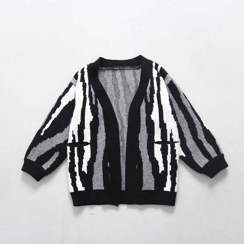 Balck Baby Boys Striped Sweater Coat New Arrival Girls' Infant Children Knit Wool Sweater Long Sleeve Knitting Cardigan Sweaters