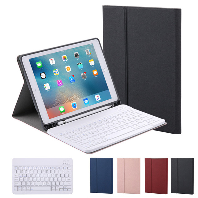 Split Design For Apple iPad 2017 2018 Air 1 2 Pro10.5 Leather Case With Bluetooth Keyboard Case Cover Pencil Holder