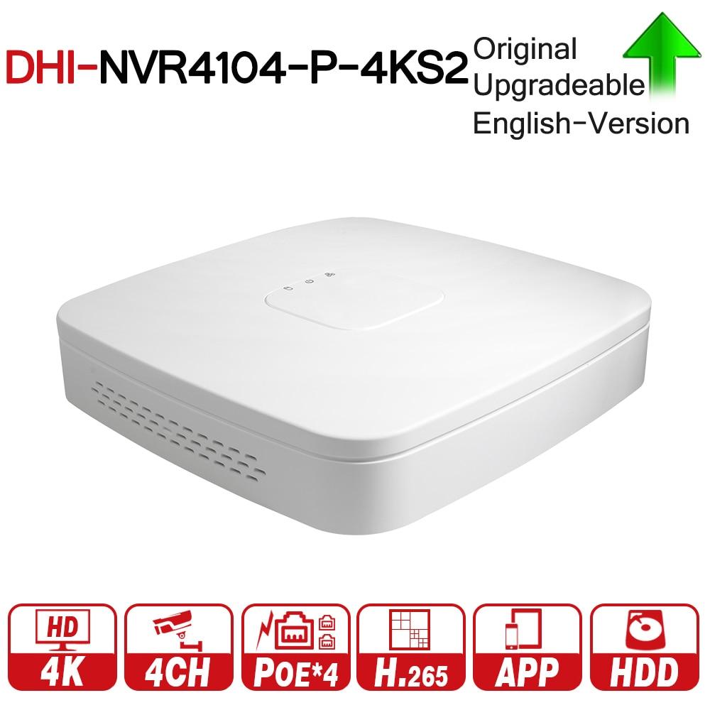 DH 4 К POE NVR NVR4104-P-4KS2 с 4ch PoE h.265 видео Регистраторы Поддержка ONVIF 2,4 SDK CGI белый POE NVR для DH CCTV Системы