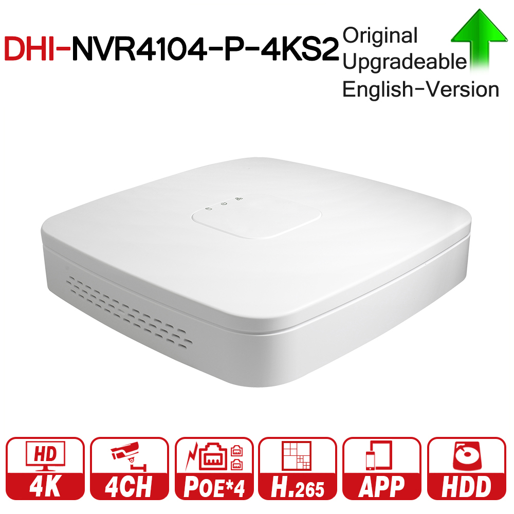 DH 4K POE NVR NVR4104-P-4KS2 With 4ch PoE h.265 Video Recorder Support ONVIF 2.4 SDK CGI White POE NVR For DH CCTV System dahua ip surveilliance system nvr kit 4ch 4k video recorder nvr4104 p 4ks2
