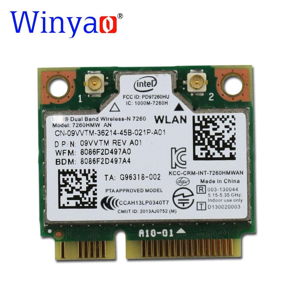 Winyao 300 Mbps Double Bande Sans Fil N 7260HMW UN 802.11n MINI PCI-E 2.4G/5G 2x2 WiFi Carte + Bluetooth 4.0