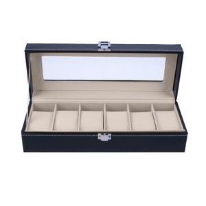 Image 4 - 6 חריצים שעון מקרה קופסא תכשיטי אחסון תיבת עם כיסוי מקרה תכשיטי שעונים תצוגה מחזיק ארגונית