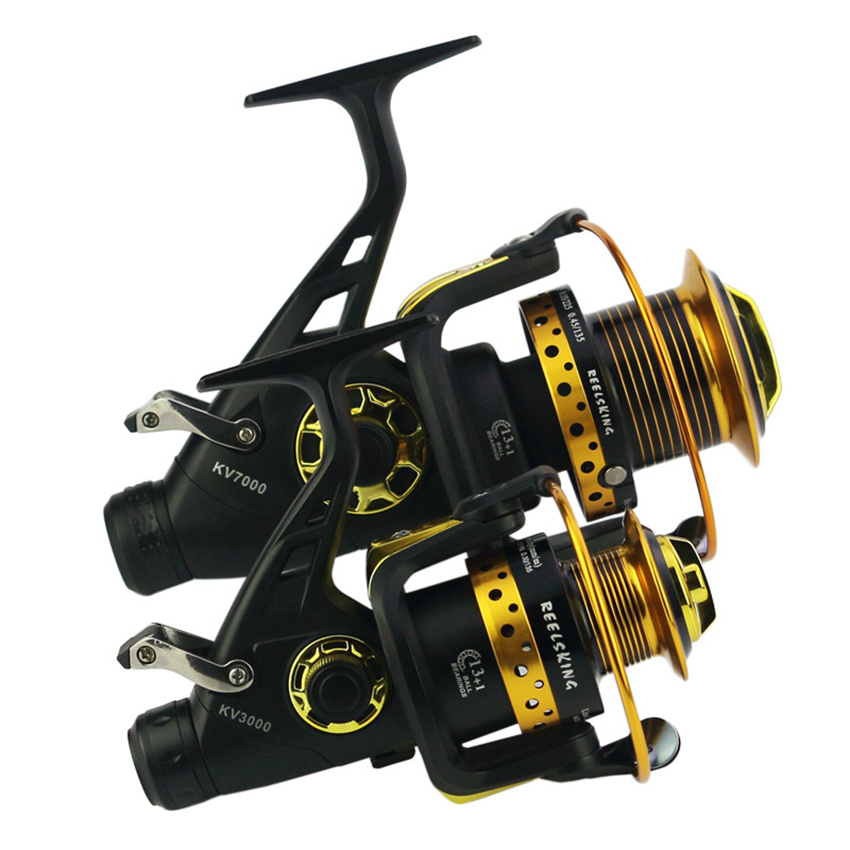 Moulinets de pêche à tête métallique moulinets de rotation 13 + 1BB frein arrière filature pêche Surf moulinet carpe avant arrière frein de traînée eau salée