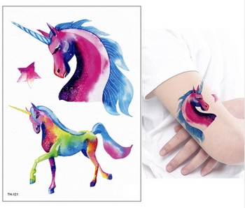 New Cartoon Blue Unicorn Fairy Tales Temporary Tattoo For Children Kids Waterproof Flash Tattoo Sticker Girl Baby Body Art Horse 1