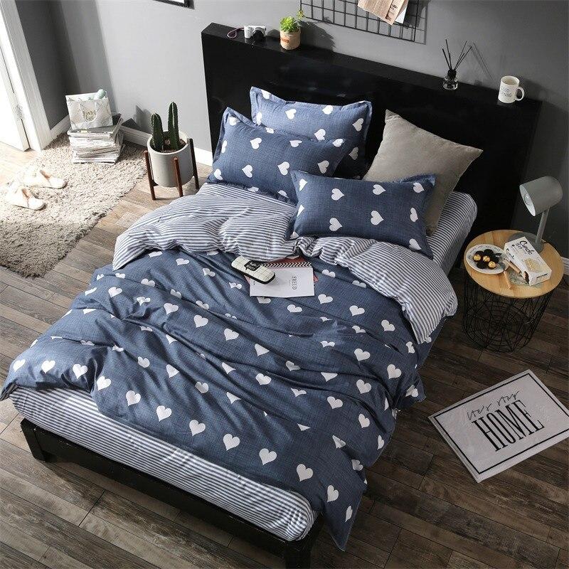 Home Textile Amour Coeur Imprime Ensemble De Literie Roi Reine