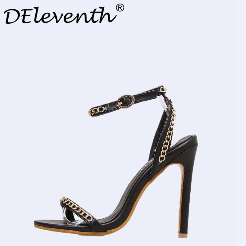 DEleventh New 2018 Fashion Summer Party Woman Shoes Chain Strappy Stiletto High Heels Sandals Ladies Women Sexy Peep Toe Sandals new arrival black brown leather summer ankle strappy women sandals t strap high thin heels sexy party platfrom shoes woman