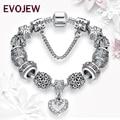 Presente de natal 925 de Prata Antigo Encantos Beads Fit Original Bracelet & Bangle com Margarida Coração Charm Bracelet para As Mulheres Jóias