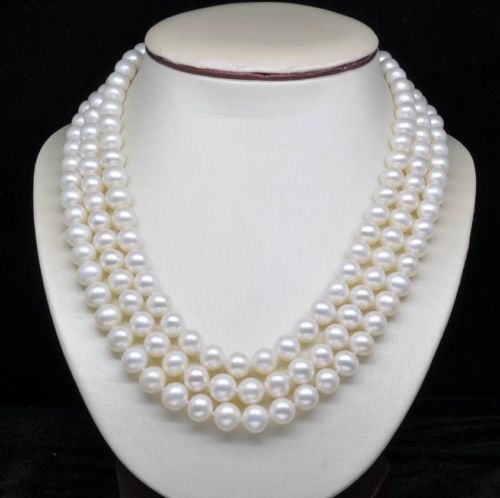 10X10  jewerly free shipping   Natural 3-Strand 6-7MM White Pearl Necklaces (16171810X10  jewerly free shipping   Natural 3-Strand 6-7MM White Pearl Necklaces (161718