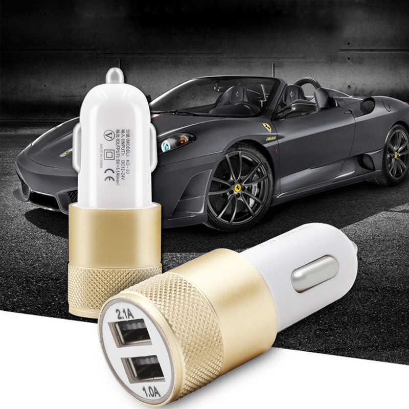 Double USB Car Charger Charging Metal Flat Mobile Phone Universal Charging 2.1V Small Steel Cannon Car Charger